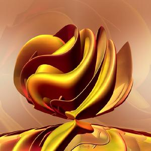 "Giclee print, yellow, gold, red, contemporary art ""Blossom #1"" 3D sculptural art by Kinnally"
