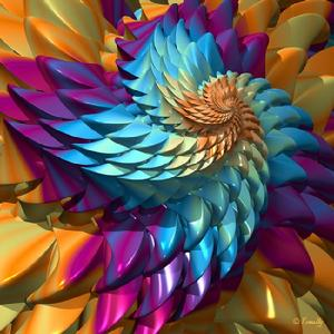 "Giclee print ""Dragon Skin""; colorful contemporary 3D spiral art by Kinnally"